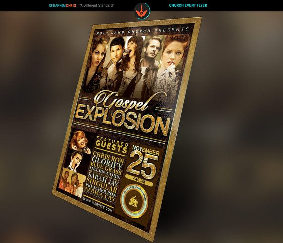 Gospel Explosion Church Flyer Photoshop Template 4x6.5 And 11x17