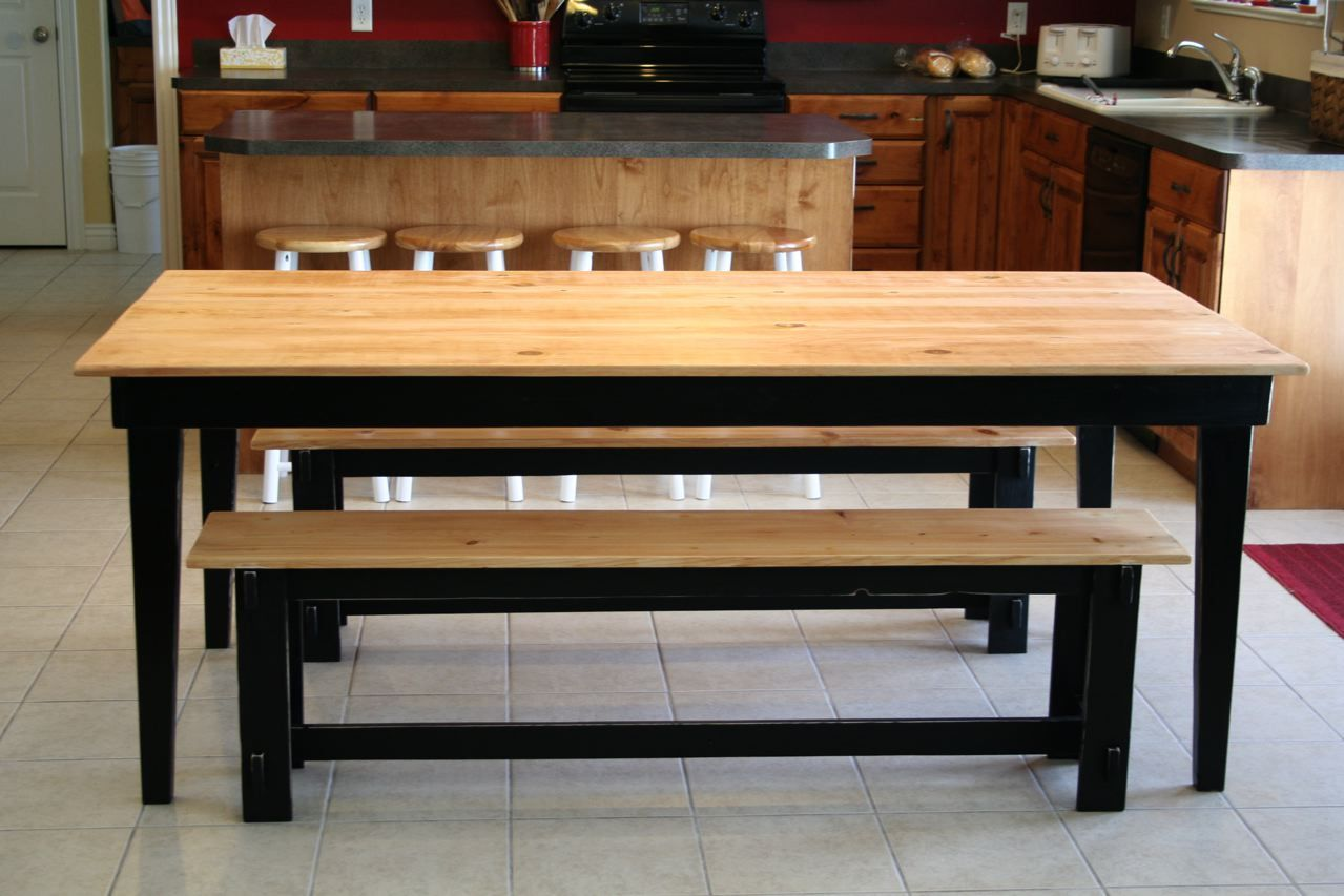 Ana white rustic farm table and benches diy projects pomysly