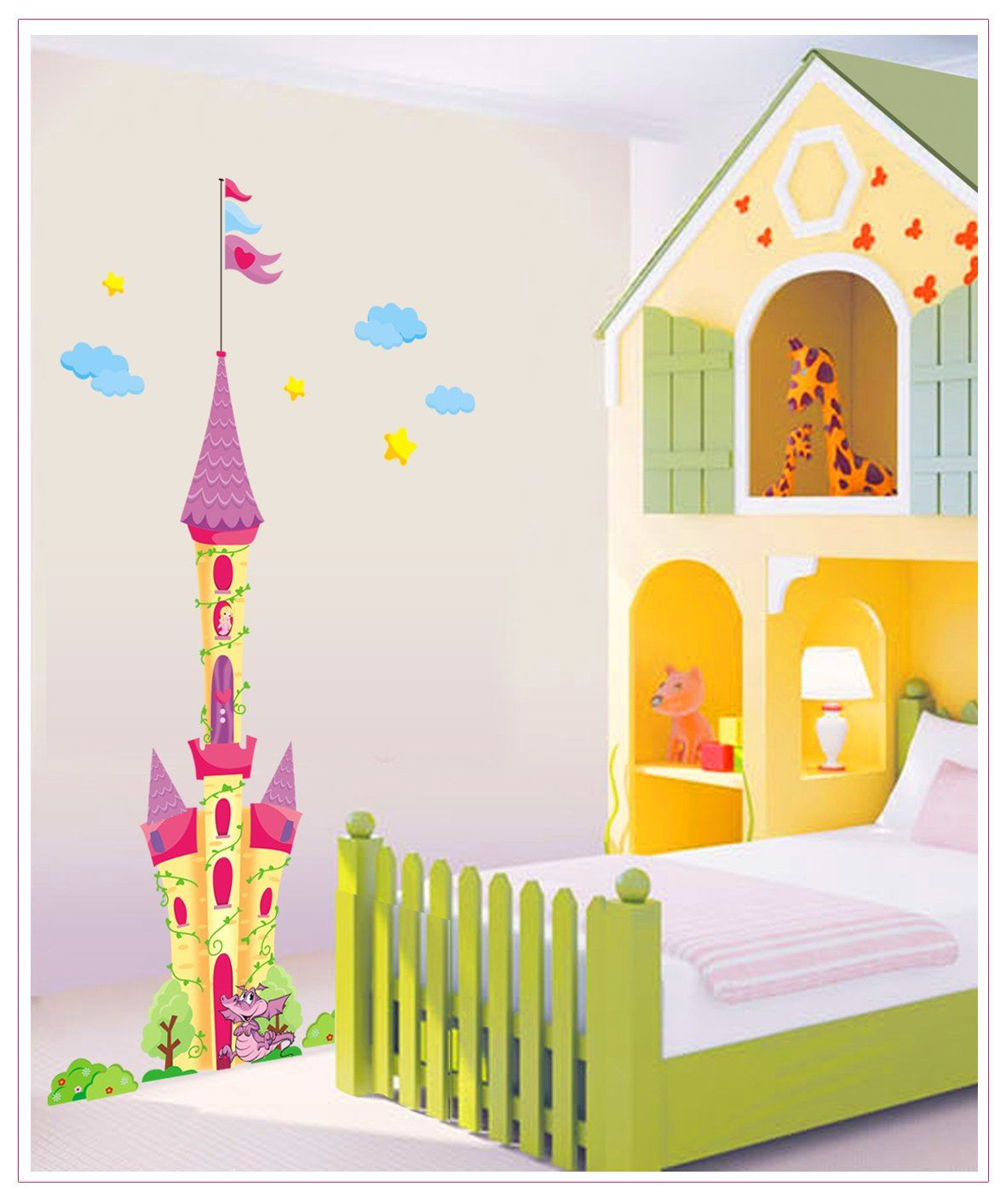 Pink Princess Castle with Dragon Peel & Stick Removable Wall Decals ...
