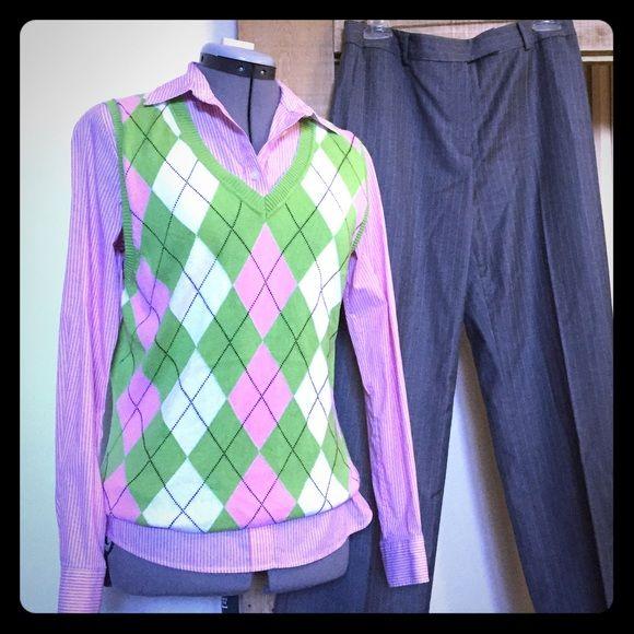 Pink Green Argyle Sweater Vest Liz Claiborne Pink Green Argyle