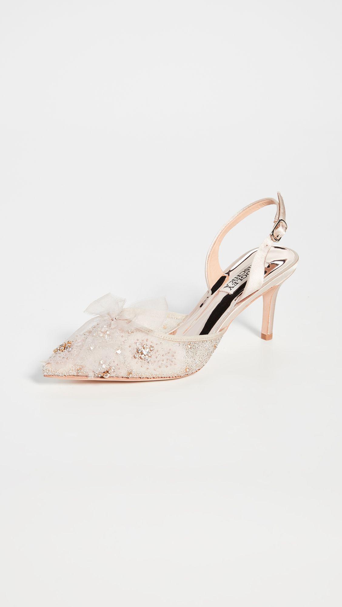Badgley Mischka Angeline Slingback Pumps Wedding Shoes Pumps Kitten Heel Wedding Shoes Bridal Shoes