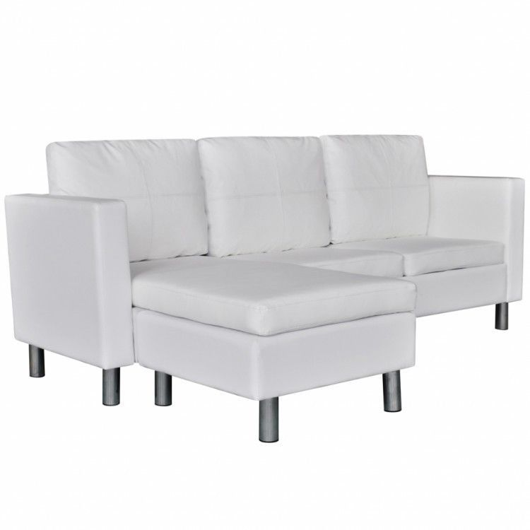 White Sectional Sofa Faux Leather Pillows Cushions Chaise Lounge Couch Home Set 724597402015 Ebay White Sectional Sofa Sectional Sofa Leather Sectional Sofas