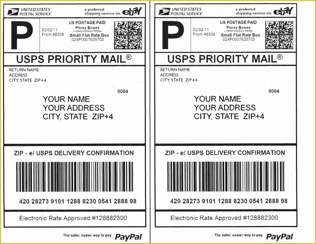 Usps Priority Mail Label 228 Word Template In 2020 Word Template