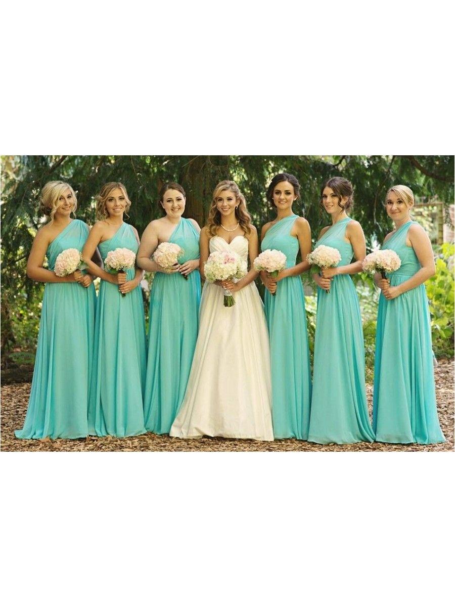 Mint Green One-Shoulder Long Chiffon Wedding Guest Dresses ...