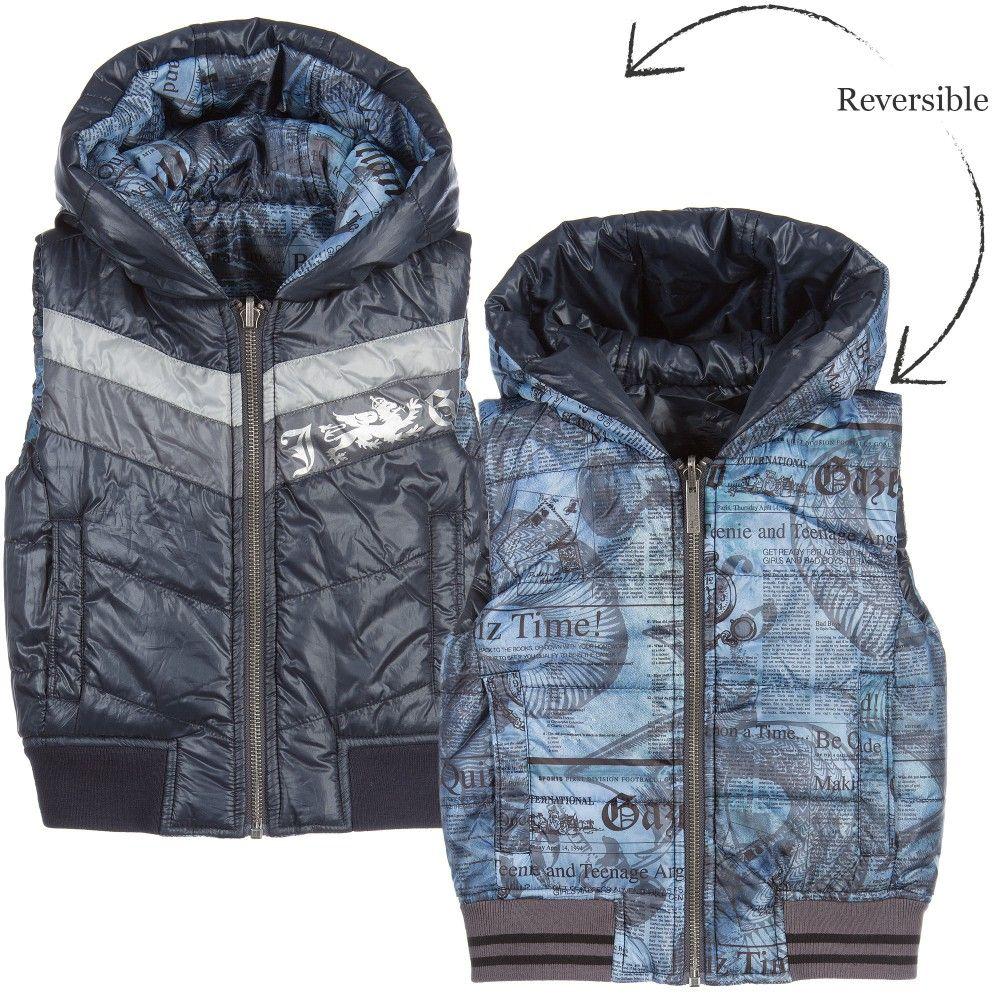 dae97fc2b7b3 Boys navy blue reversible sleeveless jacket by John Galliano. Made ...