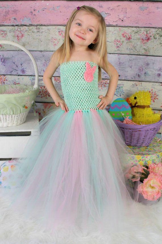 Newborn - Size 9 Mint Green and Pink Easter Tutu Dress