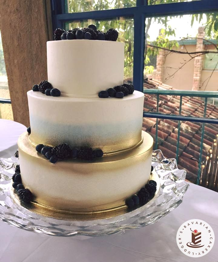 Beautiful Wedding Cakes By The Baking Grounds Bakery Café: Berry Beautiful! A 3-tier Wedding Cake With Gold Airbrush