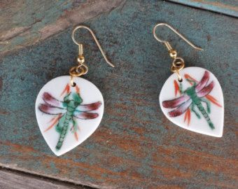 """Handmade Porcelain Dragonfly Earrings $32.00 