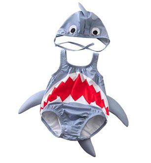 Baby One Piece Swimsuit Shark Rash Guard Swimsuit Bathing Suit with Hat