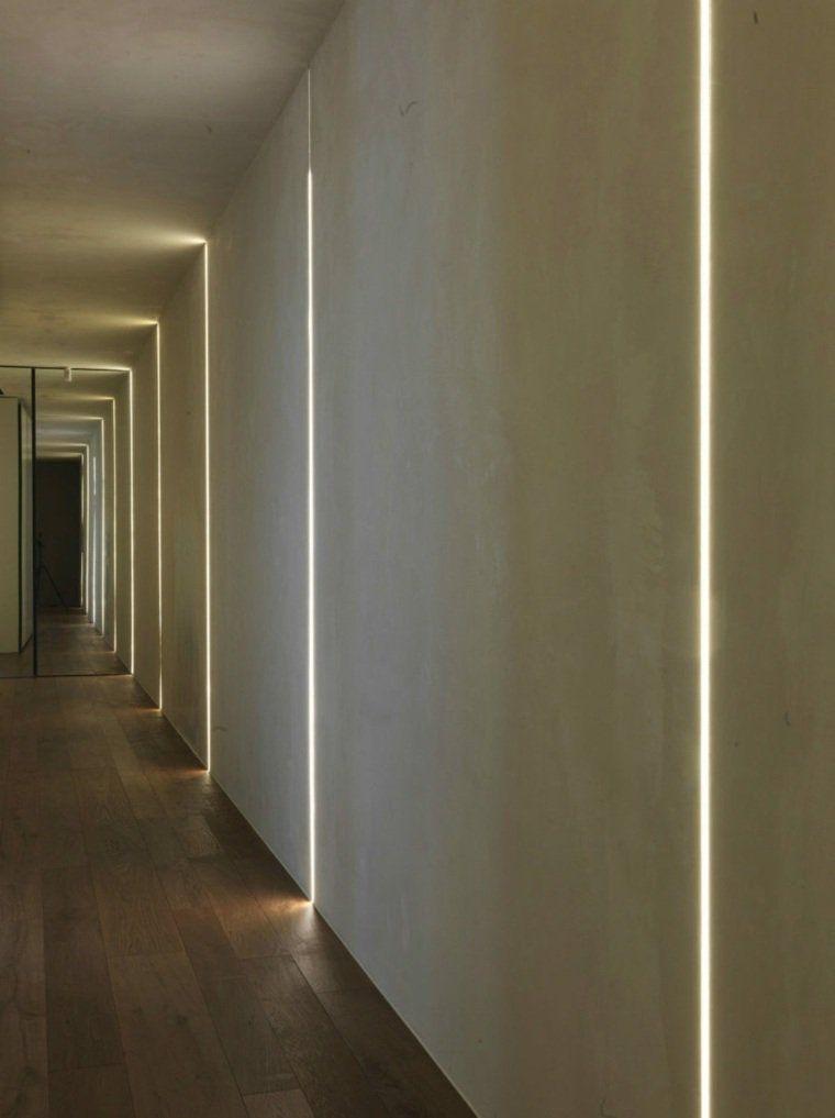 Ruban LED et profilés aluminium moderne de couloir | Couloir ...