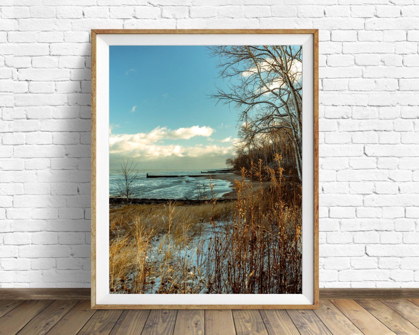 Lake Michigan Print Lake Michigan Wall Art Canvas Instant Etsy Online Printing Companies Canvas Wall Art Photo Printing