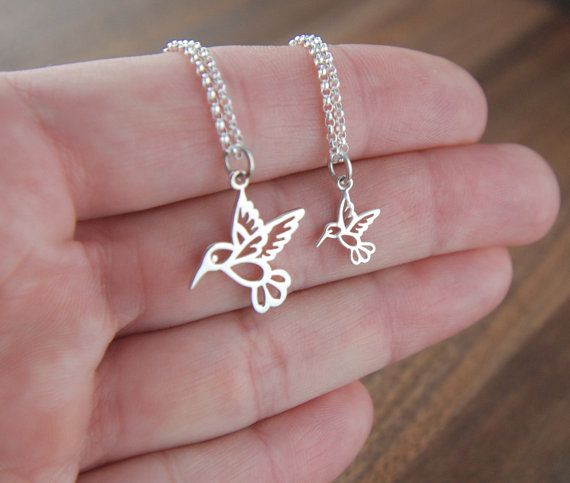 Mother and daughter sterling silver hummingbird necklaces, silver bird charm, mothers love, two necklaces