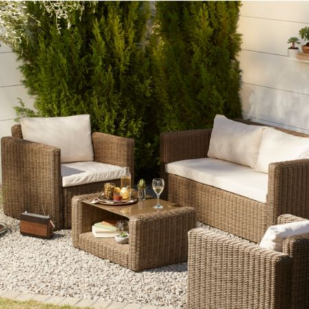 soron rattan effect 4 seater coffee set bq for all your home and garden supplies and advice on all the latest diy trends - Garden Furniture 4 All