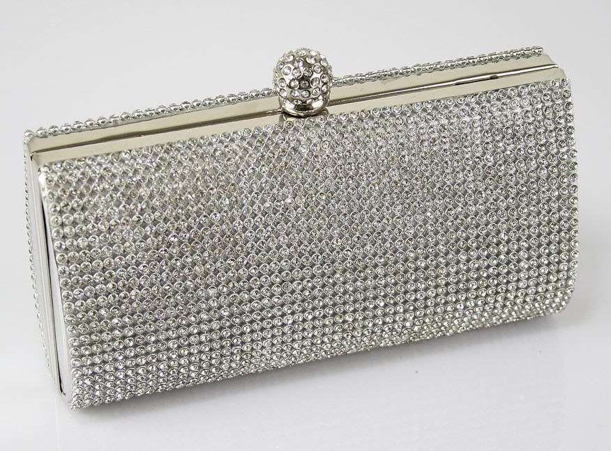 Evening Clutch Bags | Ladies silver crystal box evening wedding ...
