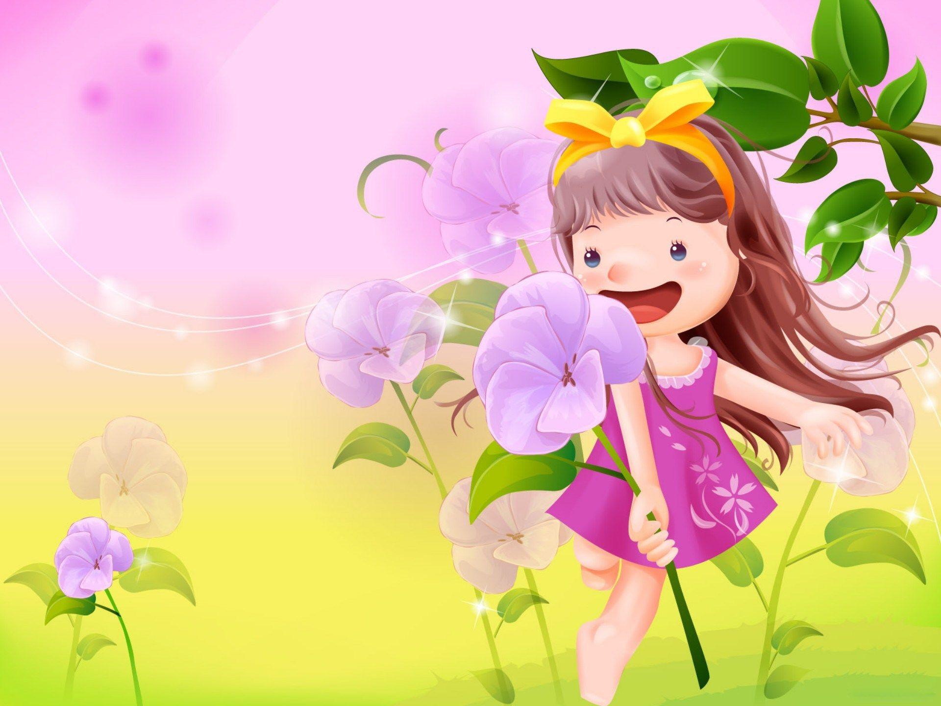 Vector Girl Cartoon Wallpaper Animated