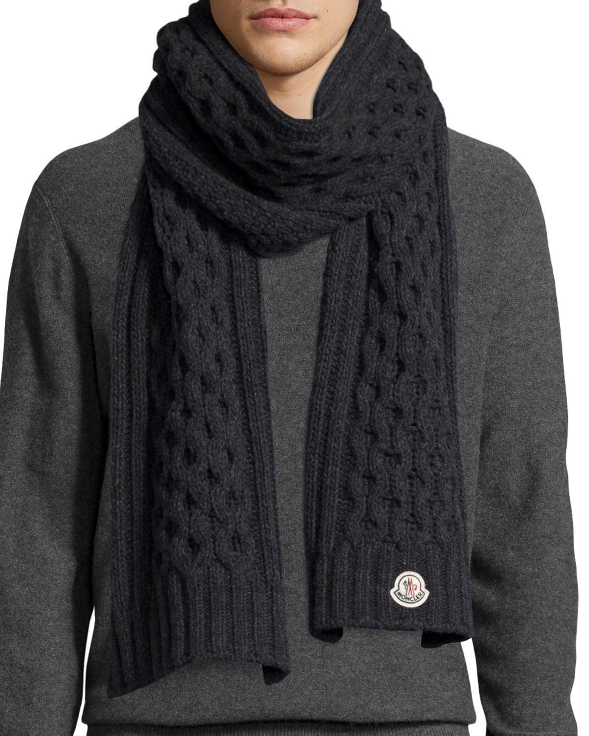 ebd820be4 Moncler cable-knit scarf. Moncler logo patch at edge. Cashmere. Made ...