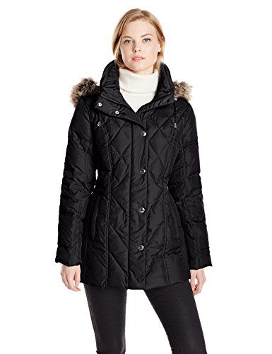 London Fog Womens Packable Diamond Quilted Down Coat
