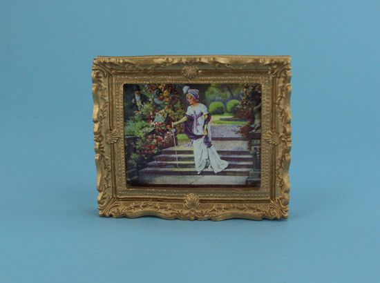 "Beautiful Dollhouse Miniature Framed ""Lovers Meeting"" Picture #WCY161"