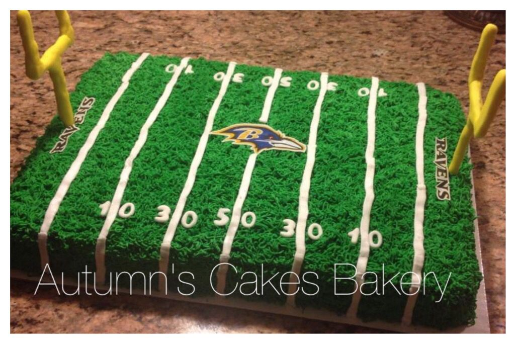 Fabulous Baltimore Ravens Football Field Cake With Images Football Personalised Birthday Cards Epsylily Jamesorg