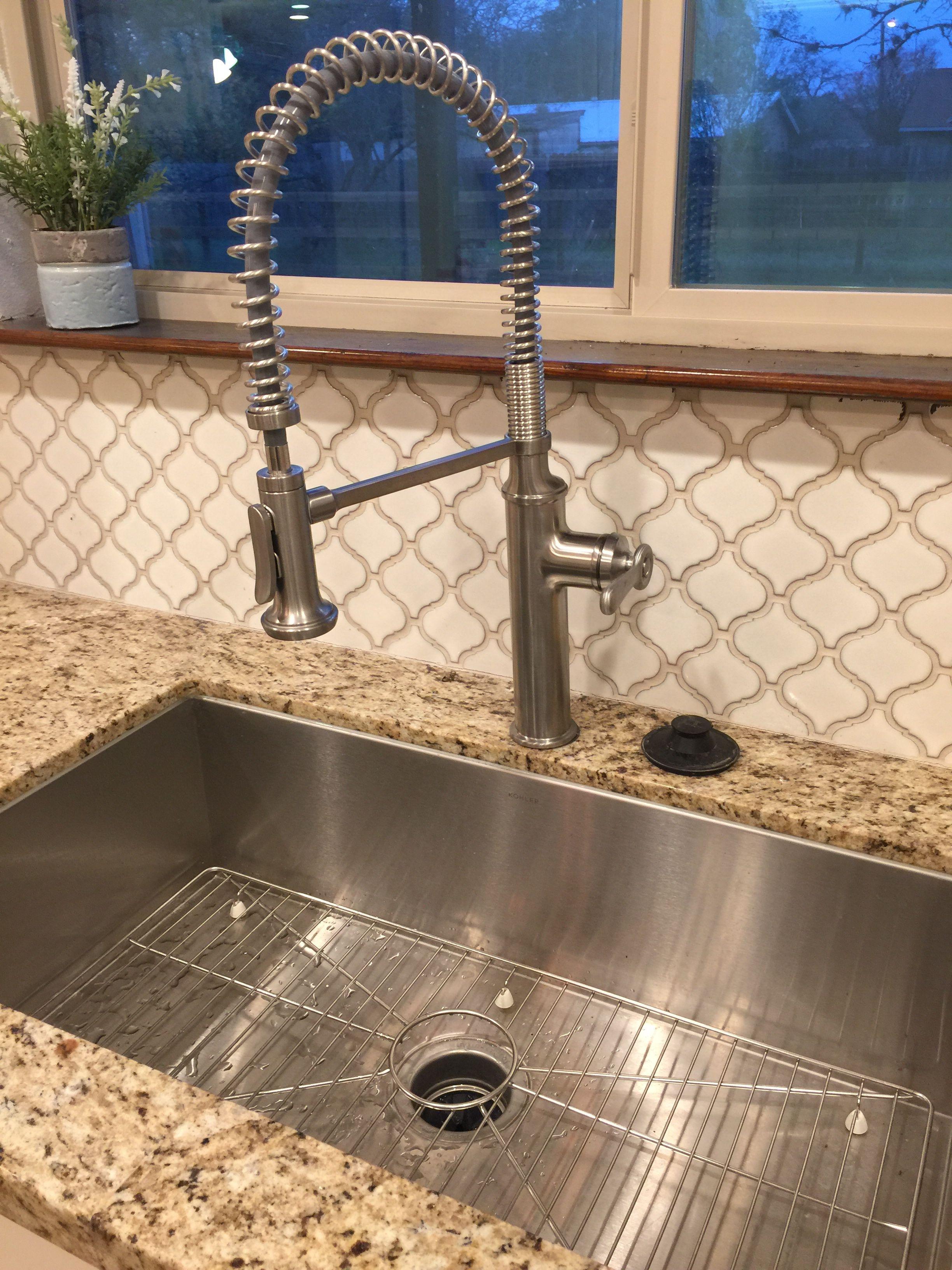 Modern farmhouse like kitchen stainless steel Kohler sink and faucet ...
