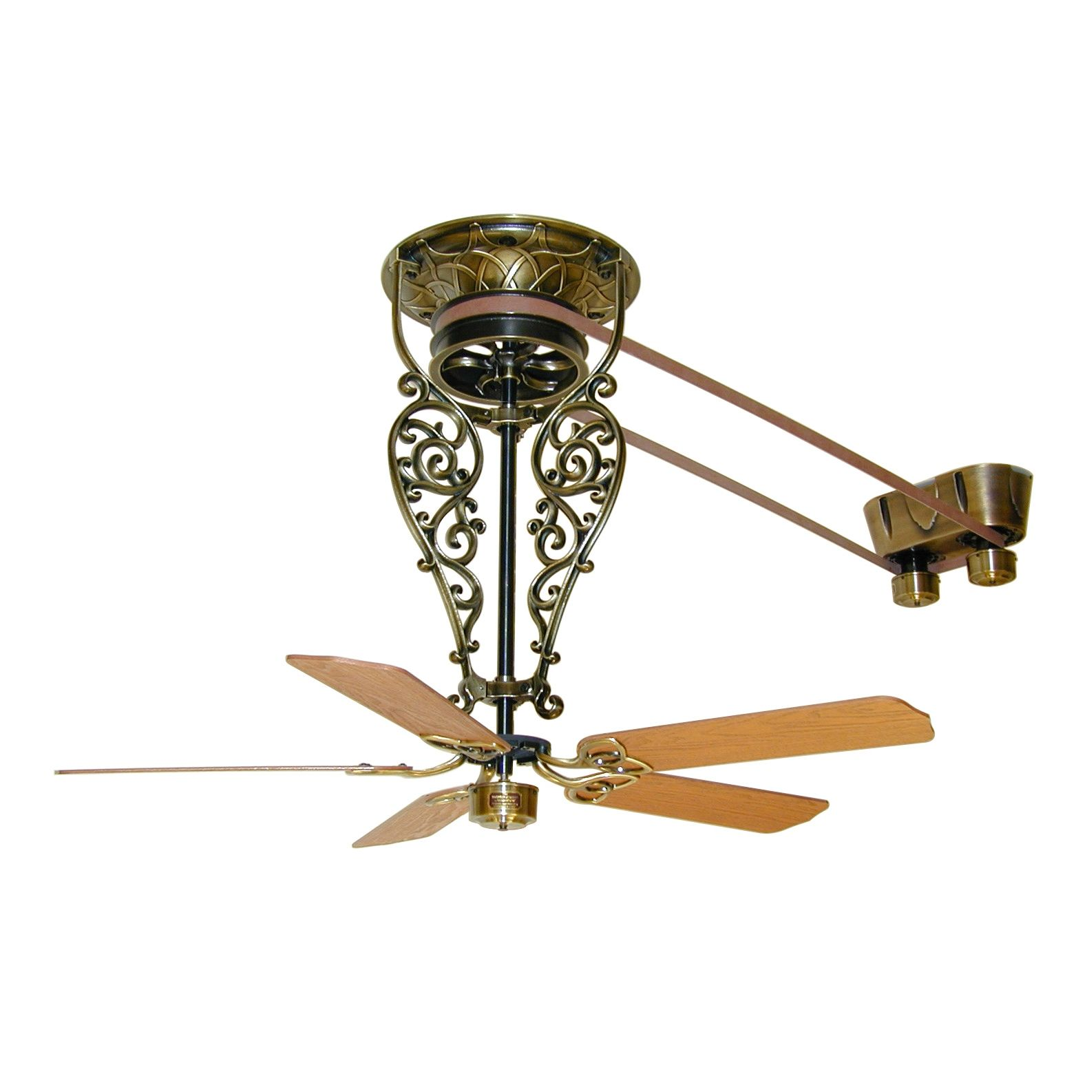 Vintage ceiling fans with lights - Fanimation Bourbon Street Collection Antique Reproduction Belt Drive Ceiling Fans Brand Lighting Discount Lighting Call Brand Lighting Sales To Ask For