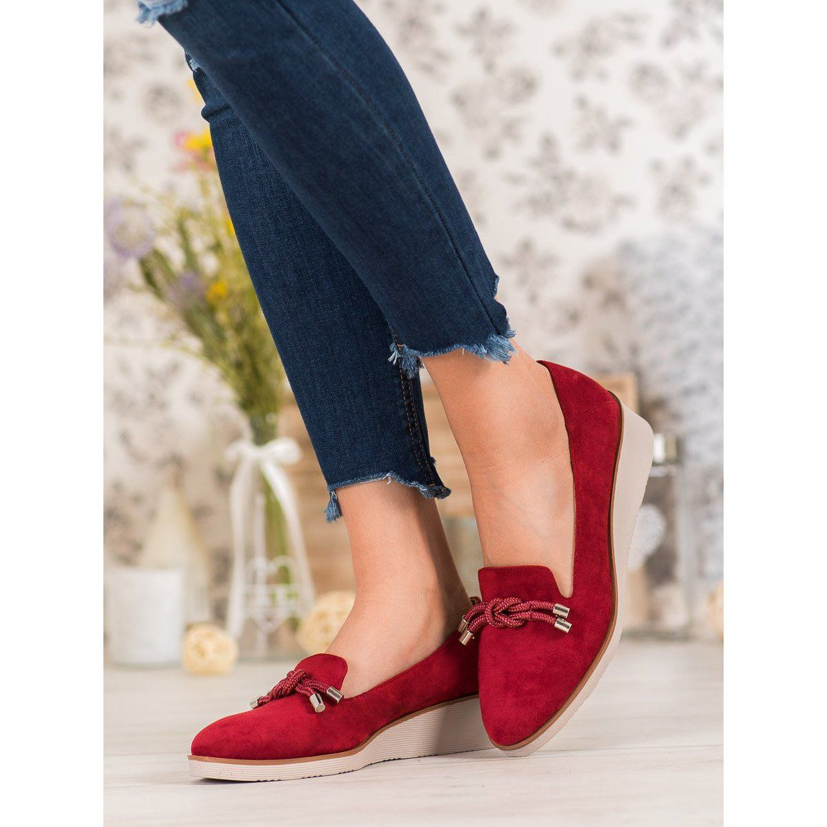 Czerwone Lordsy Na Koturnie Vinceza Shoes Flats Fashion
