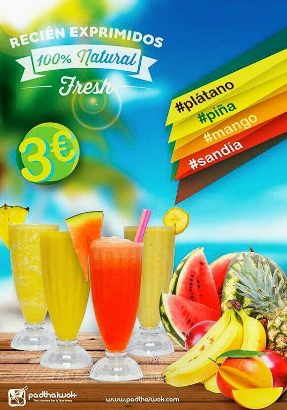 #llegaelveranito Ya tenemos a tu disposición nuestros Zumos Naturales Recién Exprimidos en PadthaiWok Fuengirola ¡Que los disfrutes! #piña #platano #sandía #mango