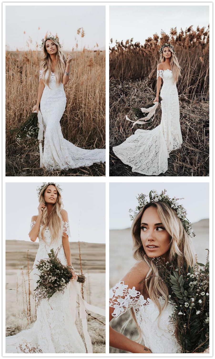 Mermaid round neck short sleeves lace beach wedding dress