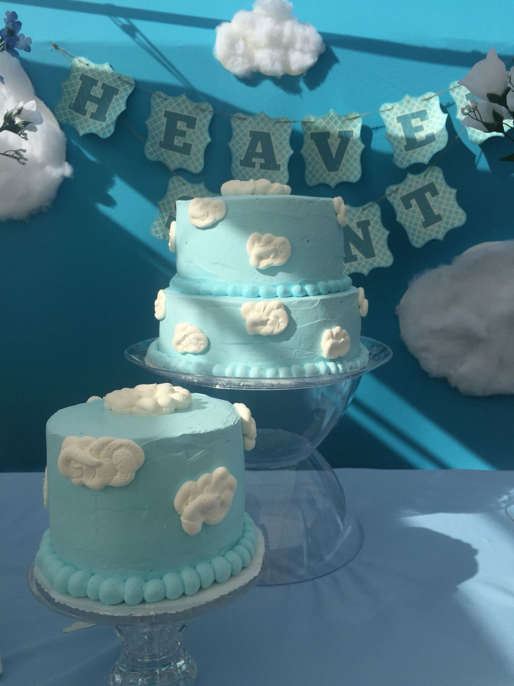 Heaven sent cake blue and white Clouds