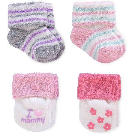 Child Of Mine By Carter S Newborn Baby Girl Terry Cuff Socks 4 Pack