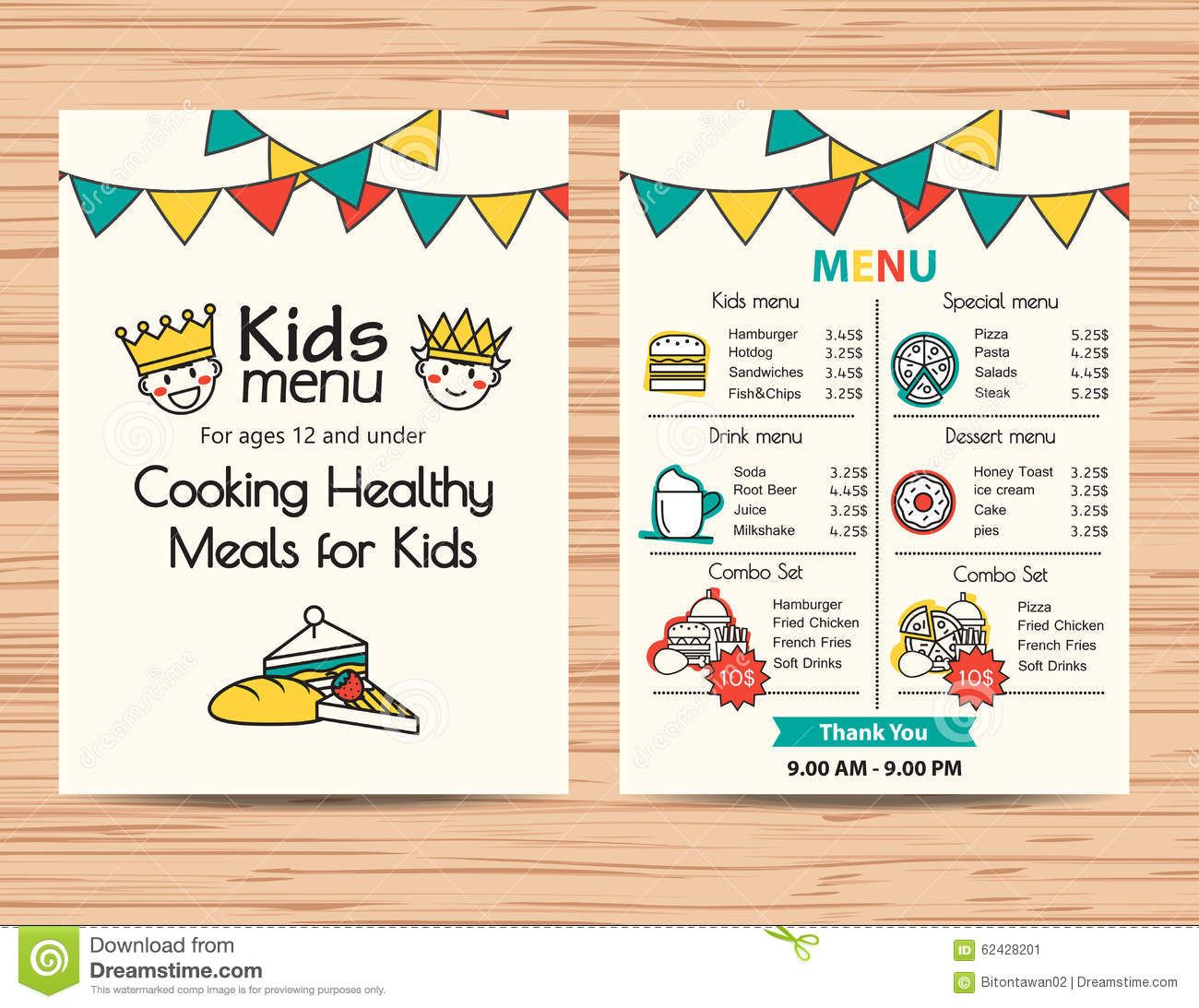 Kids meal menu vector template restaurant menu design for Free printable menu templates for kids