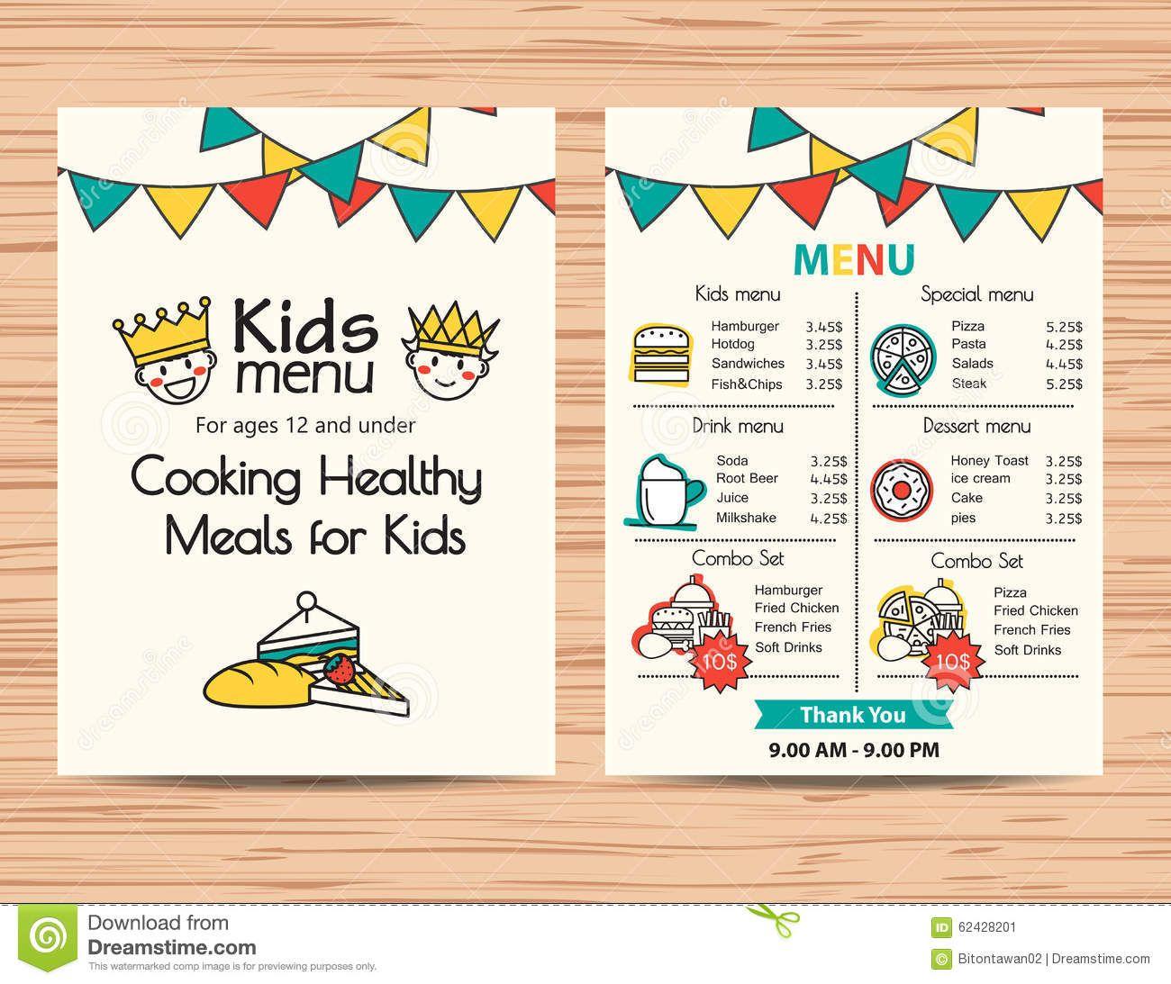 Cartoon restaurant free vector graphic download - Kids Meal Menu Vector Template Restaurant Menu Design Stock