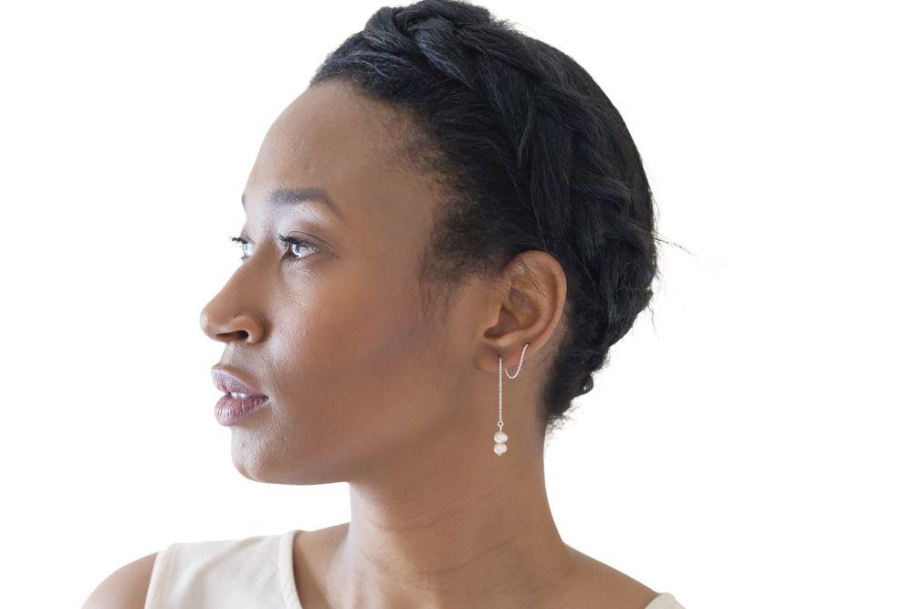 Double Freshwater Pearl Earring Threads #HannahGuerin #NauticalLine