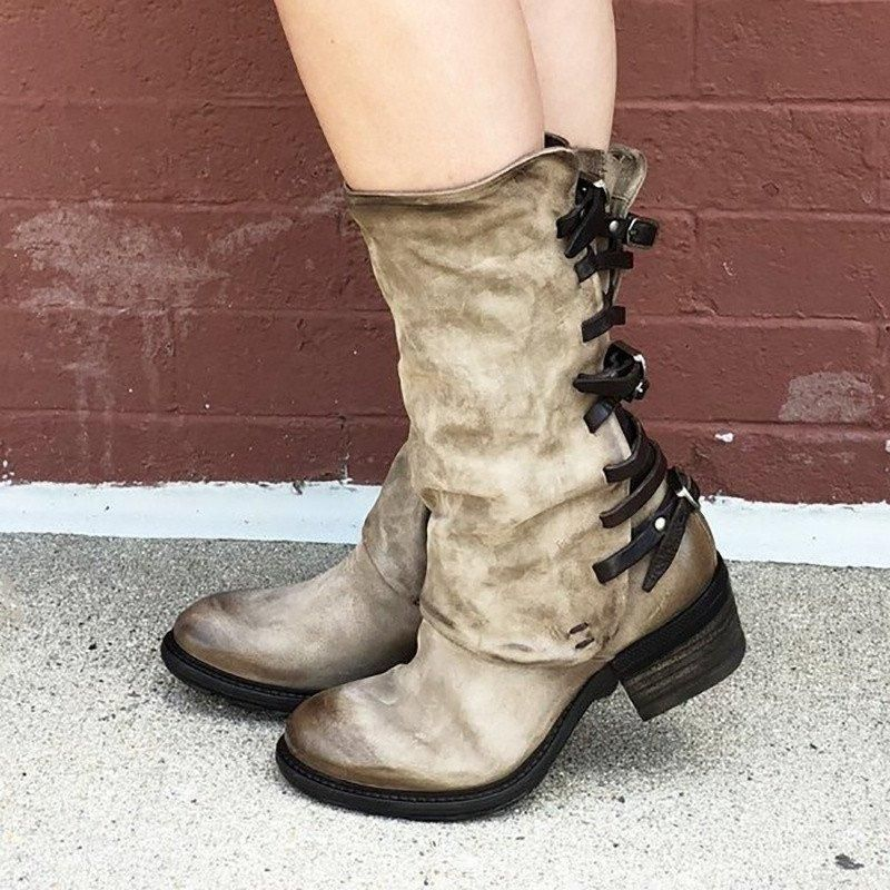 Vintage Zipper Low Heel Boots Back Straps Faux Leather Mid