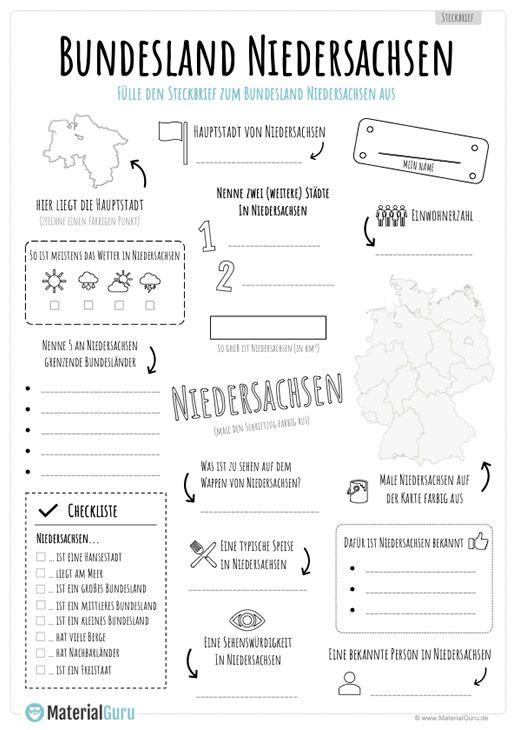 Unterrichtsmaterial Bundesland Niedersachsen Steckbrief