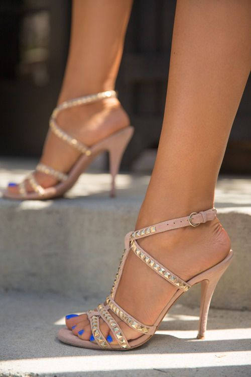 strappy blush pink heels with studs