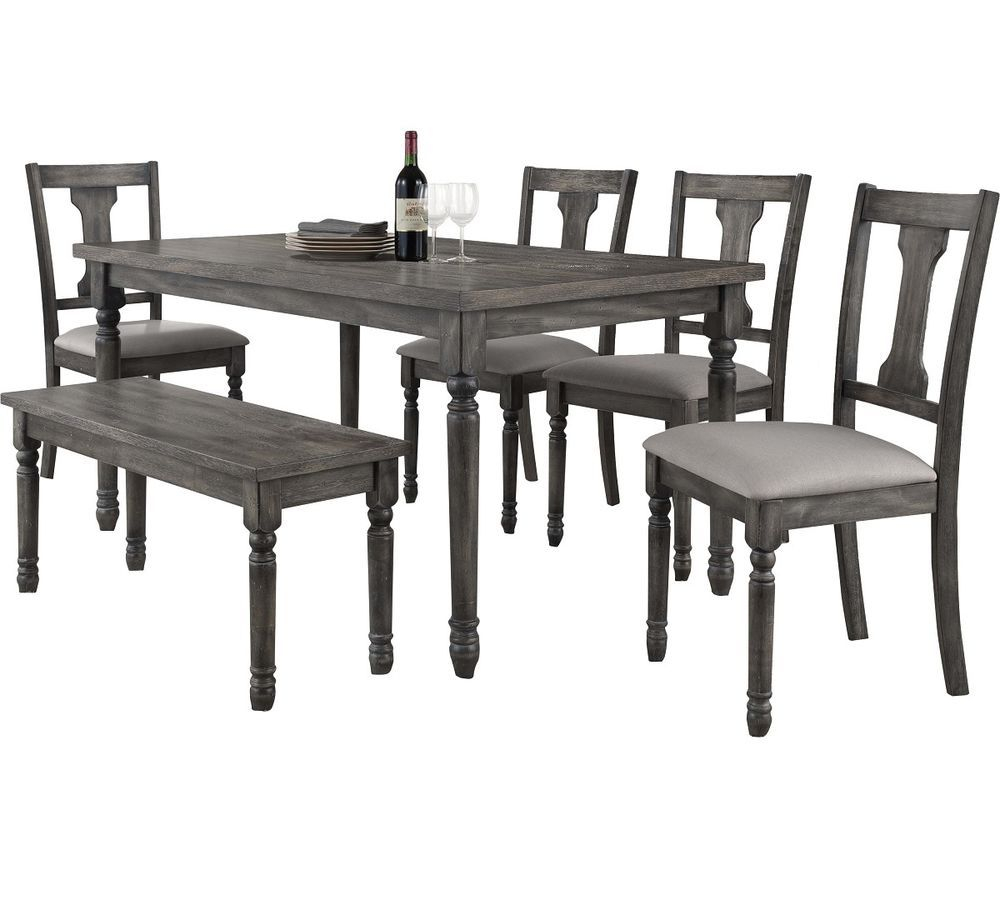 Rustic Dining Table Set For 6 Distressed Solid Wood Kitchen