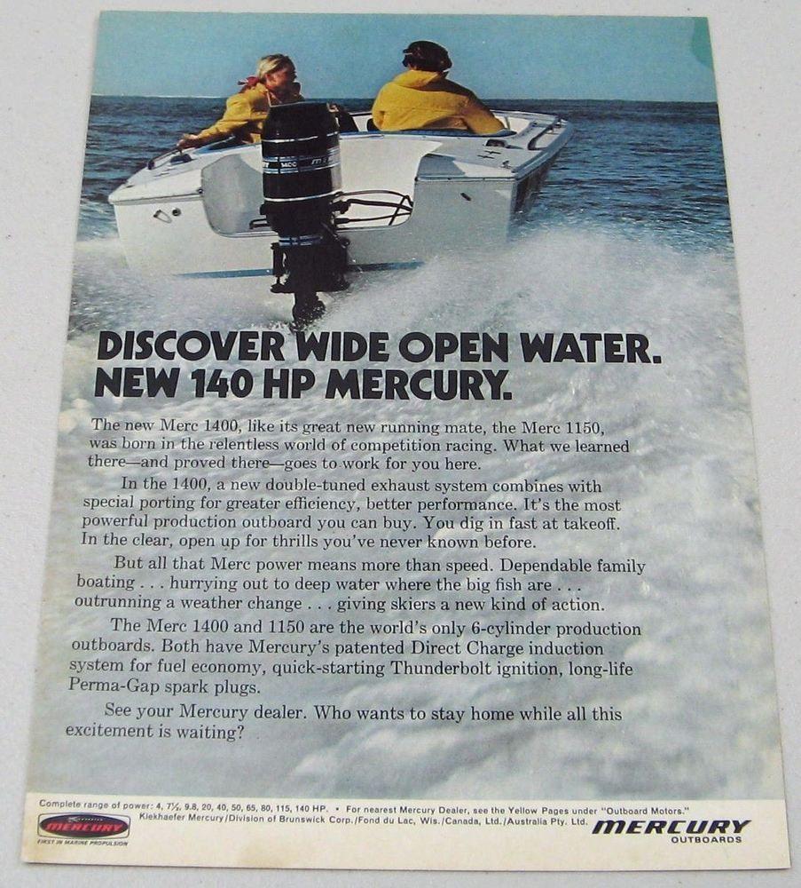 1972 Print Ad Mercury 1400 Outboard Motors 6 Cylinder Outboard Motors,  Print Ads, Mercury