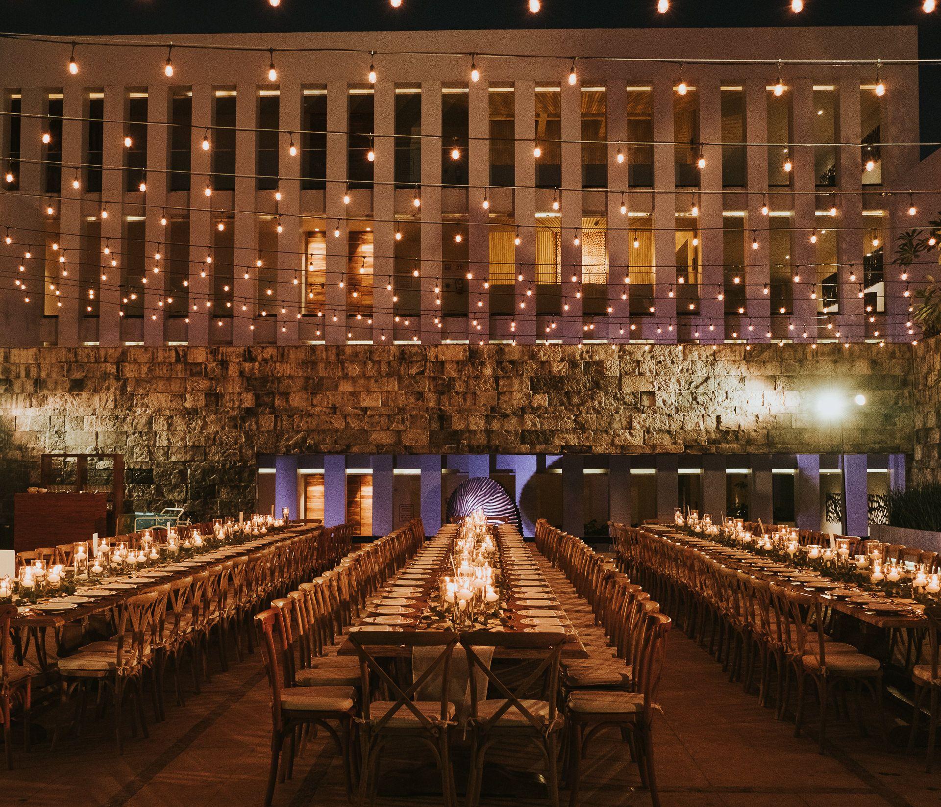 Grand Hyatt Playa Del Carmen Wedding Al Fresco Dinner Twinkle