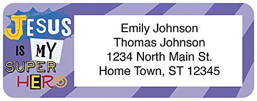 Jesus Is My Super Hero address label - Holli Conger