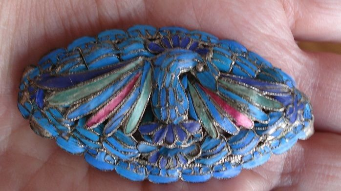 Antique Chinese Turquoise Kingfisher Feather Bird Brooch Pin
