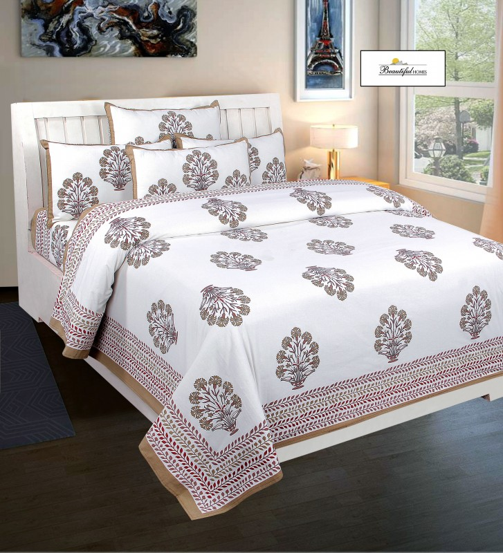 Handmade Sanganeri Royal Look King Size Pure Cotton Bed Sheet Two Pillow Covers