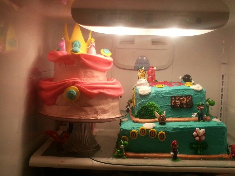 Mario brothers and princess peach cakes for my 8 year old son and 1