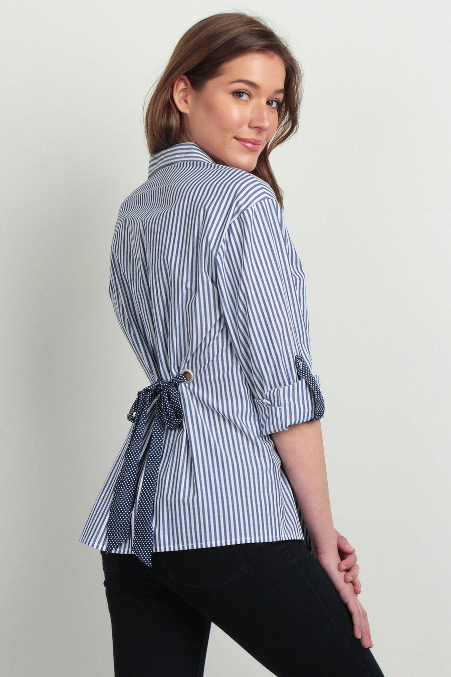 9563bd7e133e33 Claire Lace Up Back Striped Button Down Shirt | Women's Top | SKIES ARE BLUE