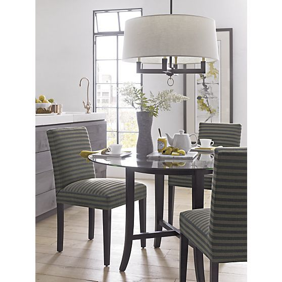"Crate And Barrel Dining Room Chairs: Halo Ebony Round Dining Table With 48"" Glass Top + Reviews"
