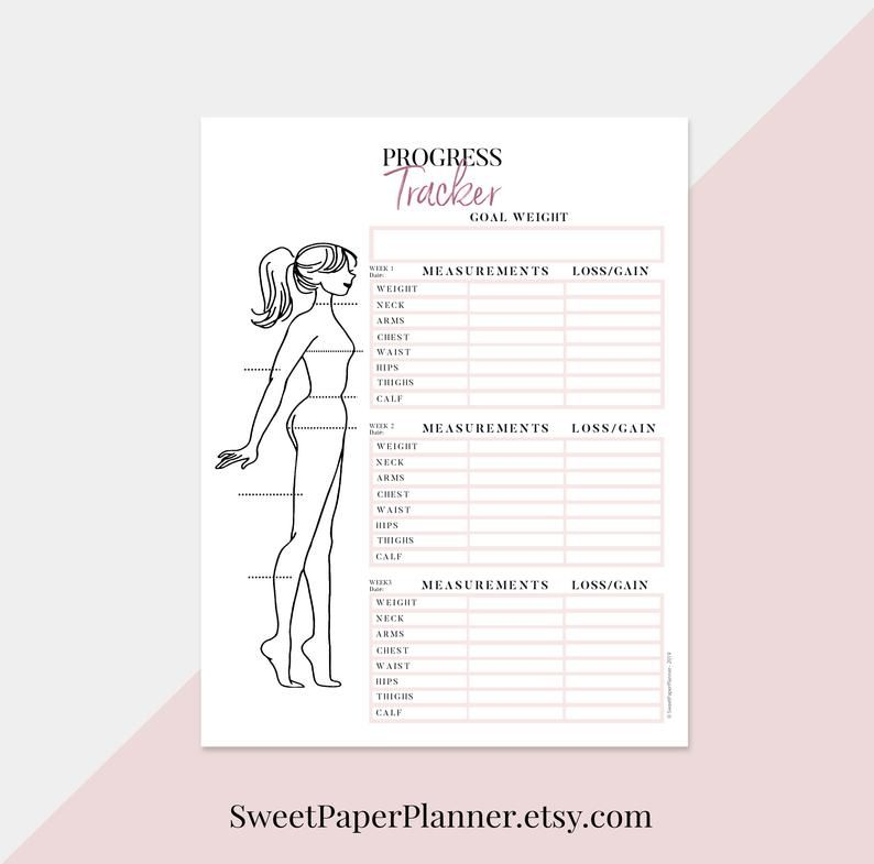 Wellness Planner Printable, Self Care Planner, Wellbeing Planner, Body Measurements Tracker, Weight Loss Tracker, Fitness Log, Exercise Log -   15 fitness Tracker measurements ideas