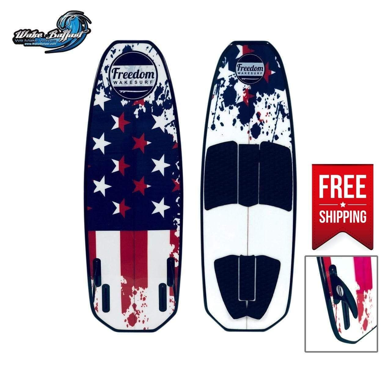 """Surfboards come in all shapes, styles, and lengths, and our Wakesurf Liberty Surfboard is a unique board designed to allow beginning riders to grow with their boards. This special board features quad fins and a short design. At only 4'8"""", this shortboard is perfect for beginners and intermediate riders. Learn how to balance, how to catch a wave, and how to carve like the pros with the F4 Quad fin setup, the EPS core, and the dual concave base for a fast and responsive ride – offering limitless s"""