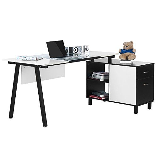 Merax L Shaped Desk With Storage Cabinet White Clear Gl