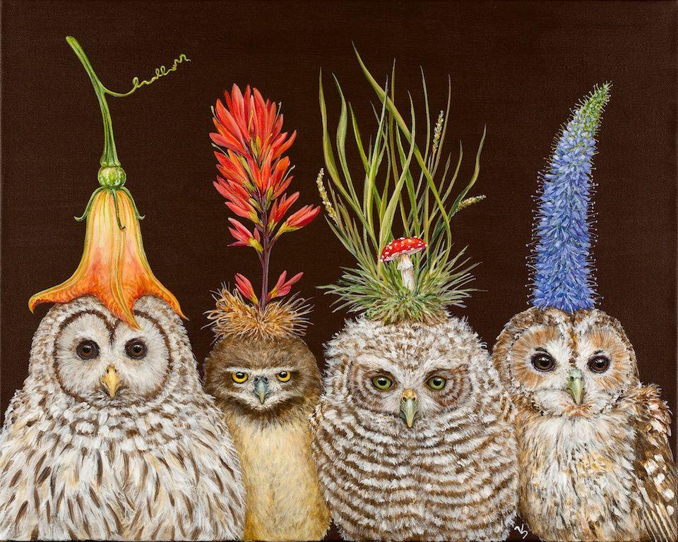 Little Owls On Big Hat Night By Vicki Sawyer