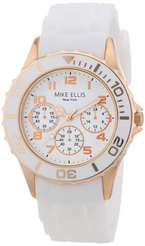 Mike Ellis New York Damen-Armbanduhr Analog Quarz Silikon S2703ARS - http://uhr.haus/mike-ellis-new-york/mike-ellis-new-york-damen-armbanduhr-analog-quarz